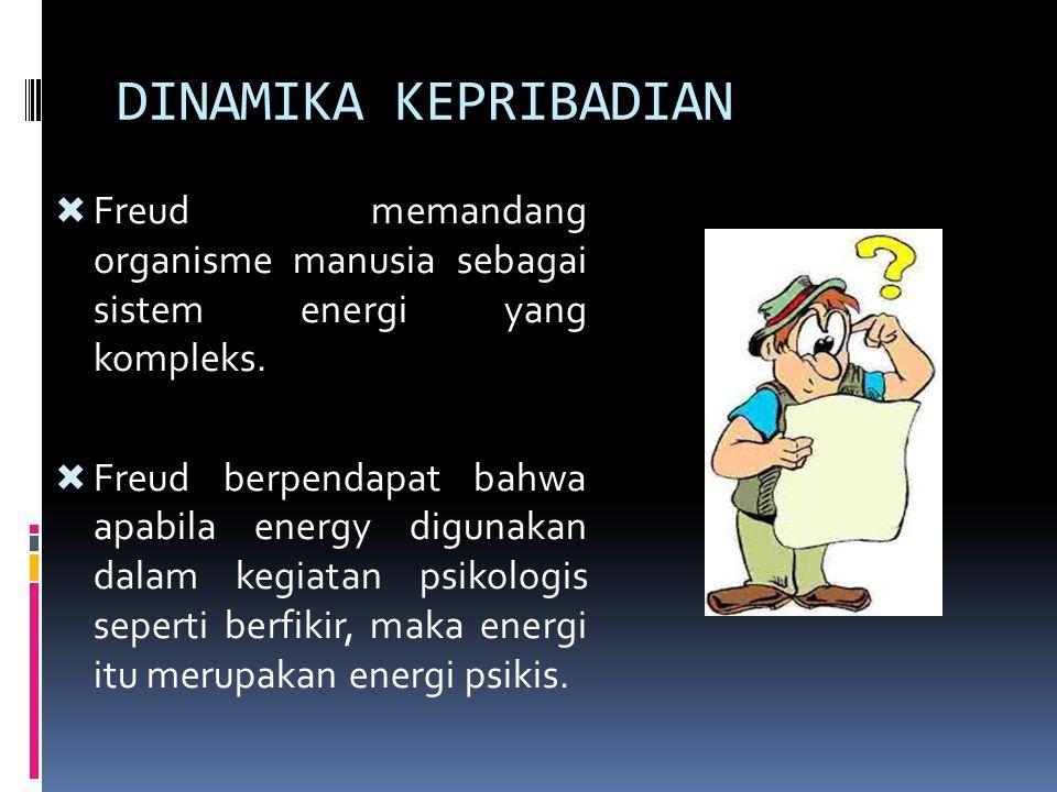 DINAMIKA KEPRIBADIAN  Freud memandang organisme manusia sebagai sistem energi yang kompleks.  Freud berpendapat bahwa apabila energy digunakan dalam