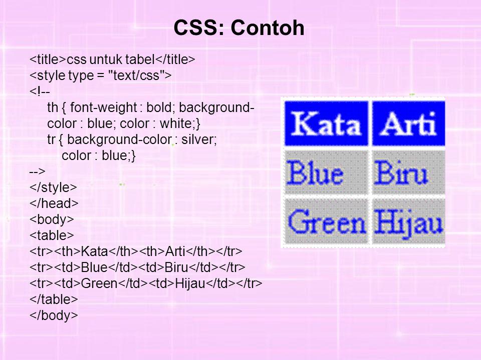css untuk tabel <!-- th { font-weight : bold; background- color : blue; color : white;} tr { background-color : silver; color : blue;} --> Kata Arti Blue Biru Green Hijau CSS: Contoh