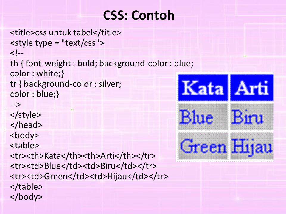 CSS: Contoh css untuk tabel <!-- th { font-weight : bold; background-color : blue; color : white;} tr { background-color : silver; color : blue;} --> Kata Arti Blue Biru Green Hijau