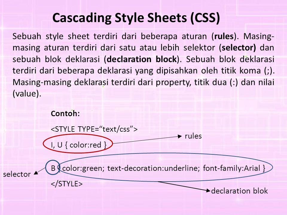 Cascading Style Sheets (CSS) Sebuah style sheet terdiri dari beberapa aturan (rules). Masing- masing aturan terdiri dari satu atau lebih selektor (sel