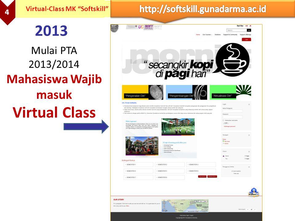 """4 Virtual-Class MK """"Softskill"""" 2013 Mulai PTA 2013/2014 Mahasiswa Wajib masuk Virtual Class"""