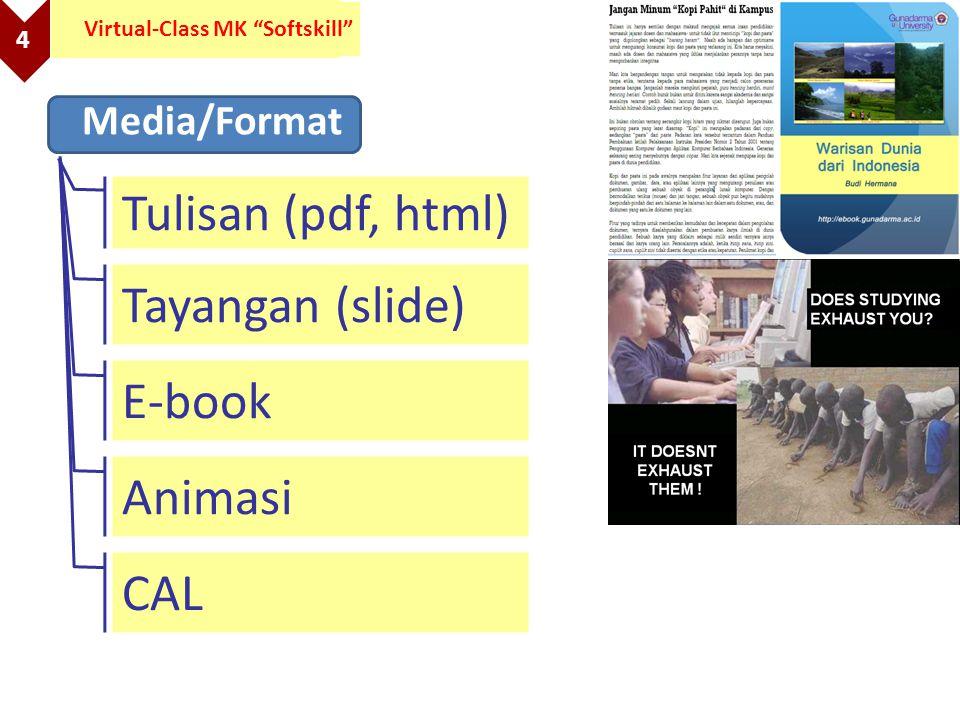 "4 Virtual-Class MK ""Softskill"" Media/Format Tulisan (pdf, html) Tayangan (slide) E-book Animasi CAL"