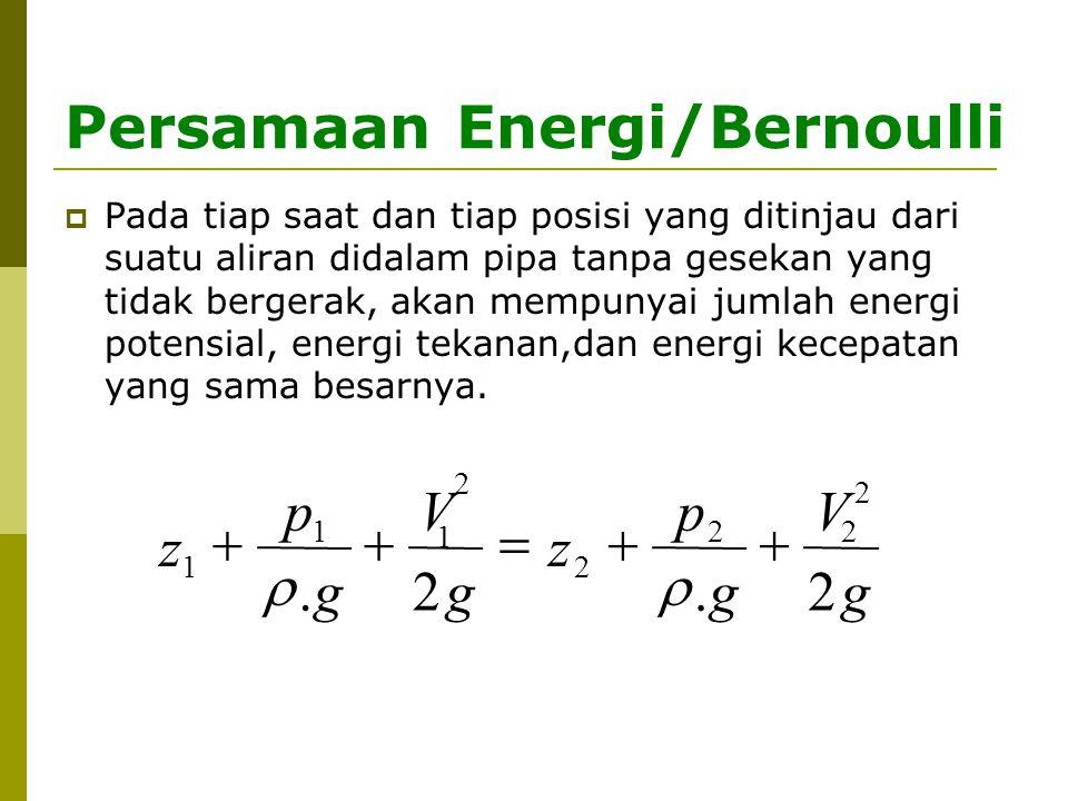 Asumsi dalam persamaan Bernoulli 1.Kecepatan partikel fluida di setiap penampang adalah sama 2.