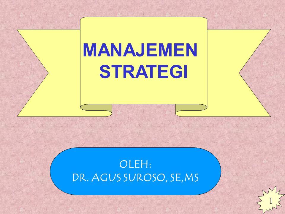 MANAJEMEN STRATEGI OLEH: DR. AGUS SUROSO, SE,MS 1