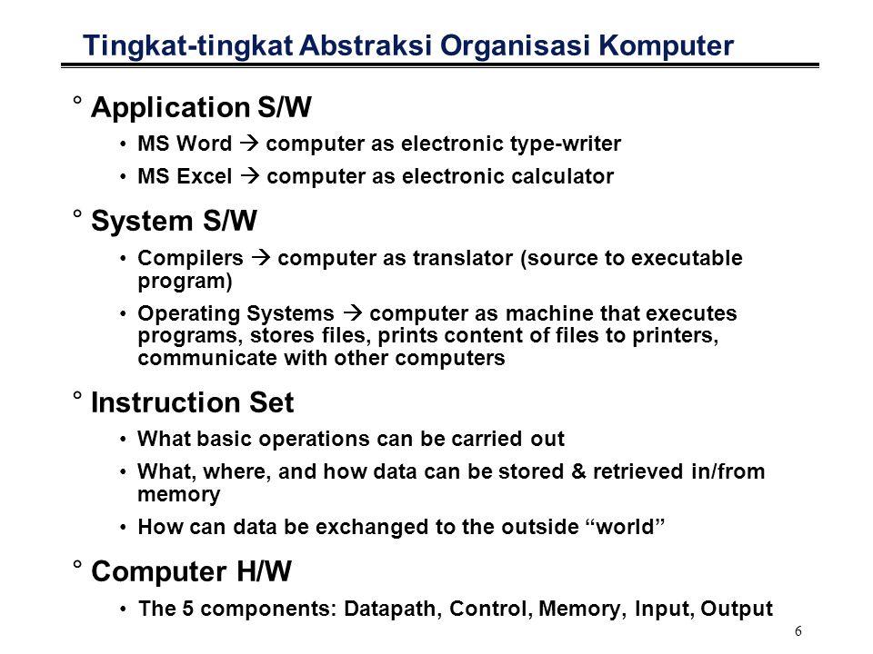 7 Tingkat-tingkat Bahasa Pemrograman High Level Language Program (e.g., C) Assembly Language Program (e.g.,AVR) Machine Language Program (AVR) Control Signal Specification Compiler Assembler Machine Interpretation A = 25; B = 8; C = A * B; ldsr1,0x100 lds r2,0x102 addr1,r2 sts0x104, r1 0000 1001 1100 0110 1010 1111 0101 1000 1010 1111 0101 1000 0000 1001 1100 0110 1100 0110 1010 1111 0101 1000 0000 1001 0101 1000 0000 1001 1100 0110 1010 1111 °°°° 20210