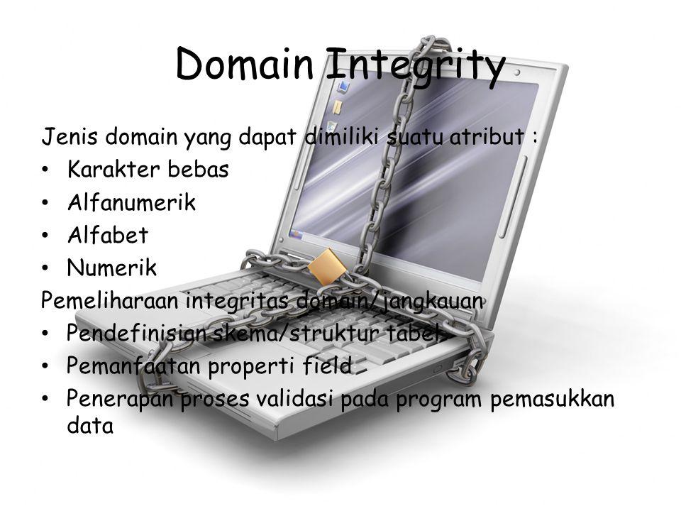 Domain Integrity Jenis domain yang dapat dimiliki suatu atribut : Karakter bebas Alfanumerik Alfabet Numerik Pemeliharaan integritas domain/jangkauan