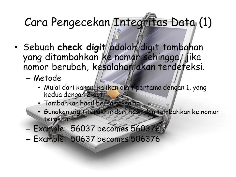 Cara Pengecekan Integritas Data (1) Sebuah check digit adalah digit tambahan yang ditambahkan ke nomor sehingga, jika nomor berubah, kesalahan akan te