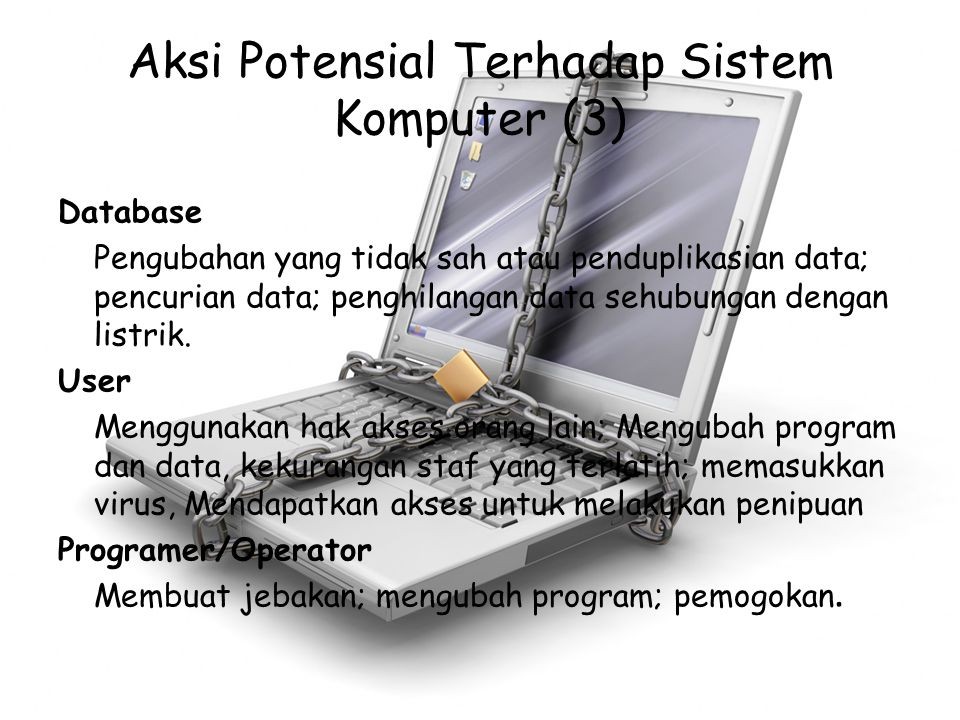 Aksi Potensial Terhadap Sistem Komputer (3) Database Pengubahan yang tidak sah atau penduplikasian data; pencurian data; penghilangan data sehubungan