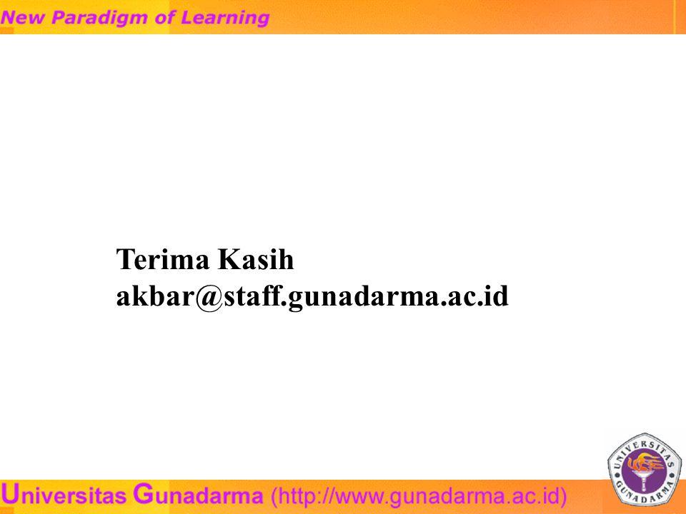 Terima Kasih akbar@staff.gunadarma.ac.id