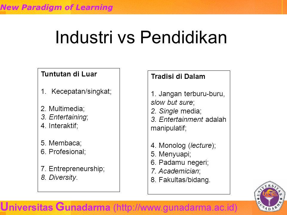 Industri vs Pendidikan Tuntutan di Luar 1.Kecepatan/singkat; 2.