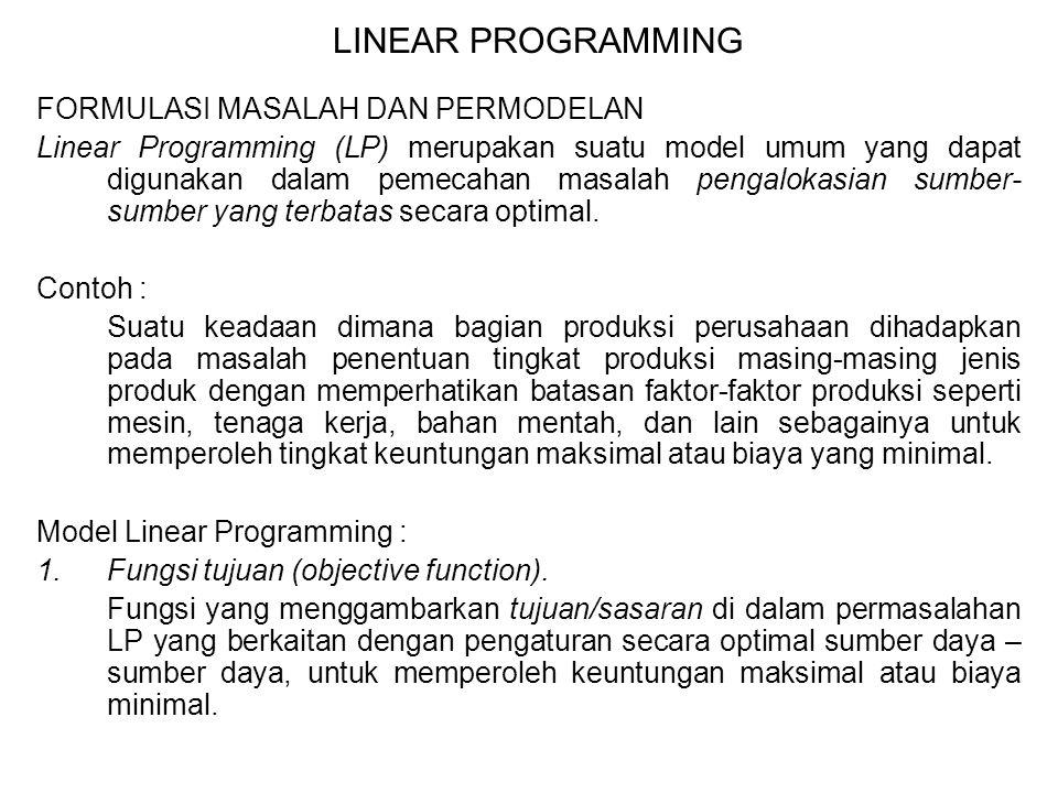 LINEAR PROGRAMMING FORMULASI MASALAH DAN PERMODELAN Linear Programming (LP) merupakan suatu model umum yang dapat digunakan dalam pemecahan masalah pe