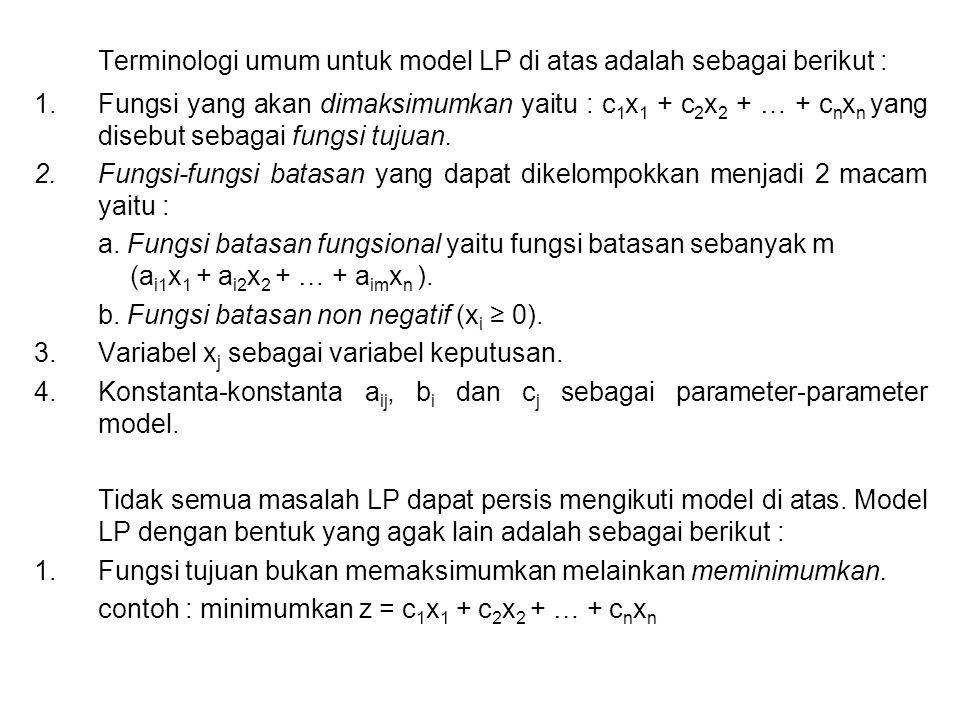 Terminologi umum untuk model LP di atas adalah sebagai berikut : 1.Fungsi yang akan dimaksimumkan yaitu : c 1 x 1 + c 2 x 2 + … + c n x n yang disebut
