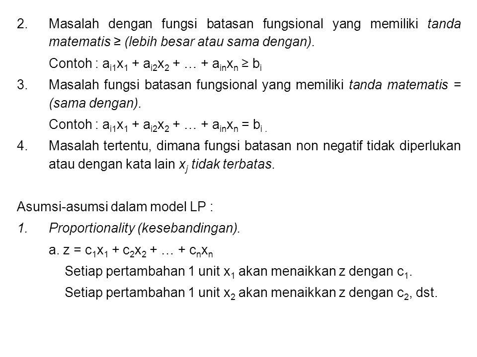 2.Masalah dengan fungsi batasan fungsional yang memiliki tanda matematis ≥ (lebih besar atau sama dengan). Contoh : a i1 x 1 + a i2 x 2 + … + a in x n