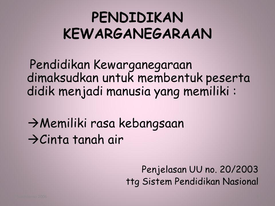 Soemiarno 20063 PENDIDIKAN KEWARGANEGARAAN Geografi SDA LH WILAYAH Manusia Indonesia PANCASILA NEGARA Wawasan Nusantara Ketahanan nasional Bela Negara