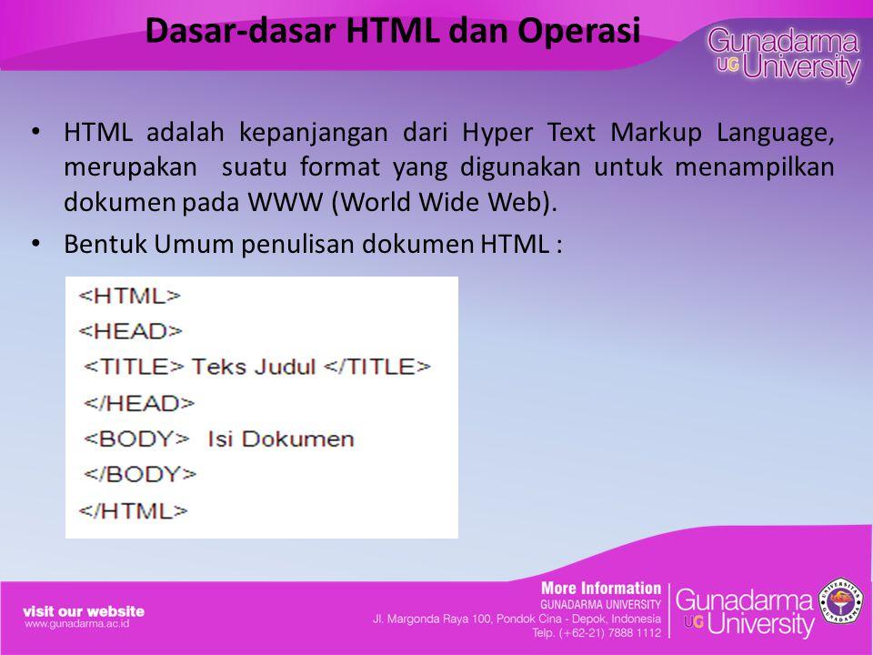 Dasar-dasar HTML dan Operasi HTML adalah kepanjangan dari Hyper Text Markup Language, merupakan suatu format yang digunakan untuk menampilkan dokumen pada WWW (World Wide Web).