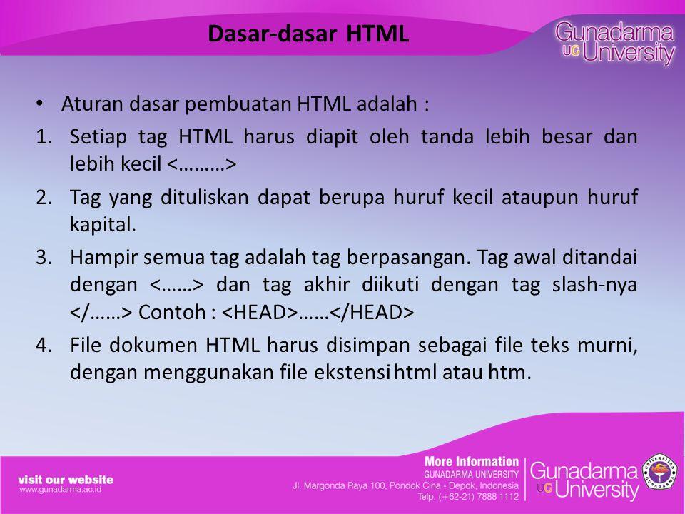 Dasar-dasar HTML Aturan dasar pembuatan HTML adalah : 1.Setiap tag HTML harus diapit oleh tanda lebih besar dan lebih kecil 2.Tag yang dituliskan dapat berupa huruf kecil ataupun huruf kapital.