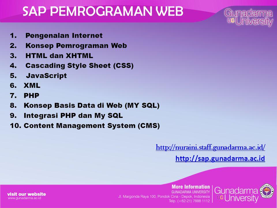 SAP PEMROGRAMAN WEB 1.Pengenalan Internet 2.Konsep Pemrograman Web 3.HTML dan XHTML 4.Cascading Style Sheet (CSS) 5.