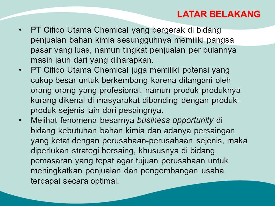 LATAR BELAKANG PT Cifico Utama Chemical yang bergerak di bidang penjualan bahan kimia sesungguhnya memiliki pangsa pasar yang luas, namun tingkat penjualan per bulannya masih jauh dari yang diharapkan.