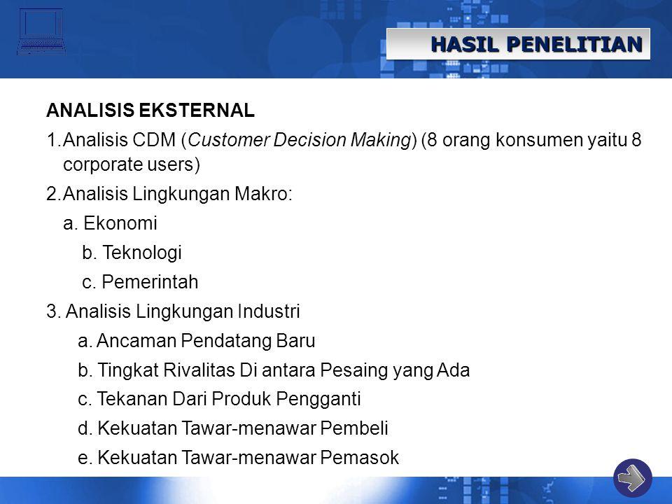 HASIL PENELITIAN ANALISIS EKSTERNAL 1.Analisis CDM (Customer Decision Making) (8 orang konsumen yaitu 8 corporate users) 2.Analisis Lingkungan Makro: a.
