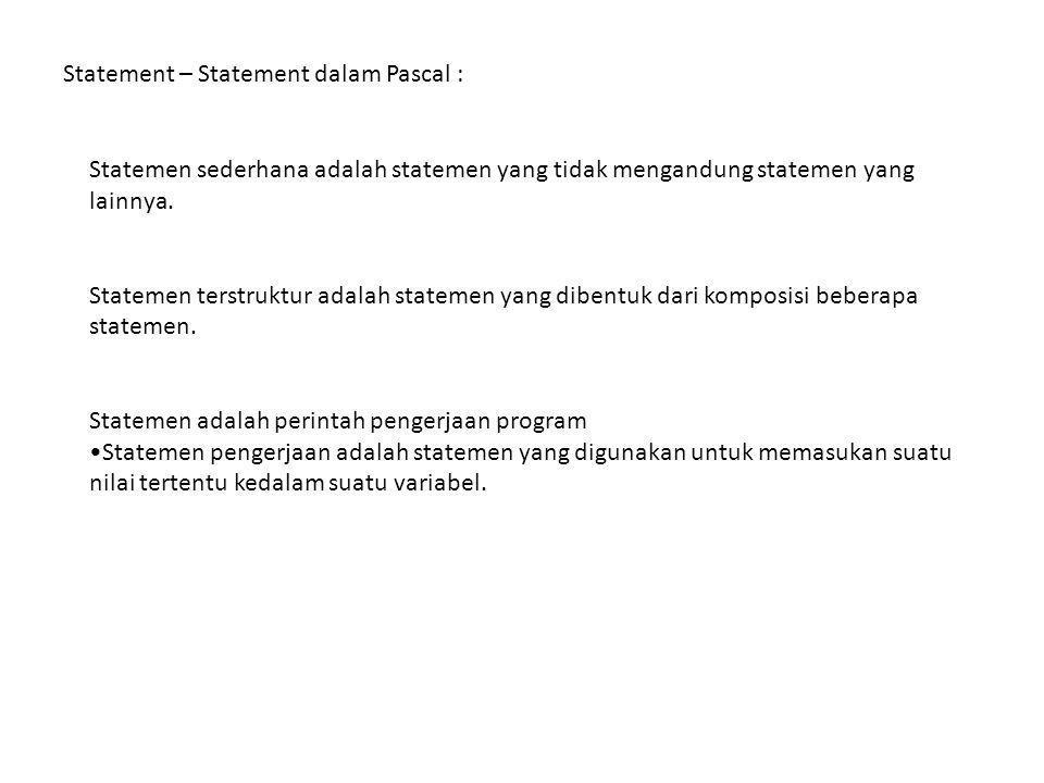 Statement – Statement dalam Pascal : Statemen sederhana adalah statemen yang tidak mengandung statemen yang lainnya.