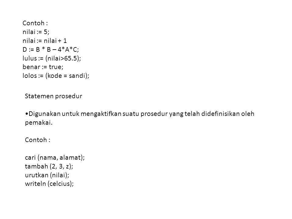 Contoh : nilai := 5; nilai := nilai + 1 D := B * B – 4*A*C; lulus := (nilai>65.5); benar := true; lolos := (kode = sandi); Statemen prosedur Digunakan