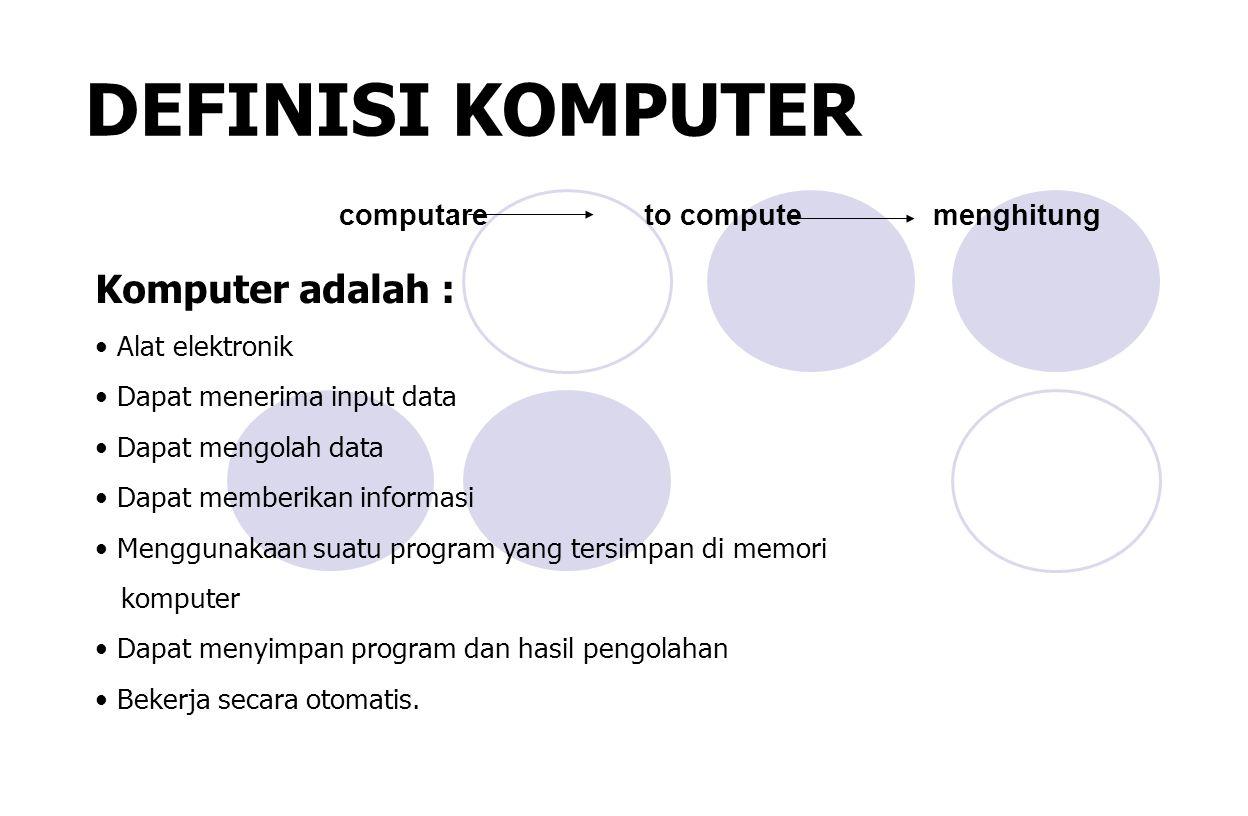 DEFINISI KOMPUTER computare to compute menghitung Komputer adalah : Alat elektronik Dapat menerima input data Dapat mengolah data Dapat memberikan informasi Menggunakaan suatu program yang tersimpan di memori komputer Dapat menyimpan program dan hasil pengolahan Bekerja secara otomatis.
