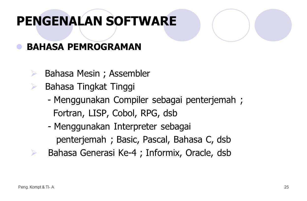 Peng. Kompt & TI- A25 BAHASA PEMROGRAMAN  Bahasa Mesin ; Assembler  Bahasa Tingkat Tinggi - Menggunakan Compiler sebagai penterjemah ; Fortran, LISP