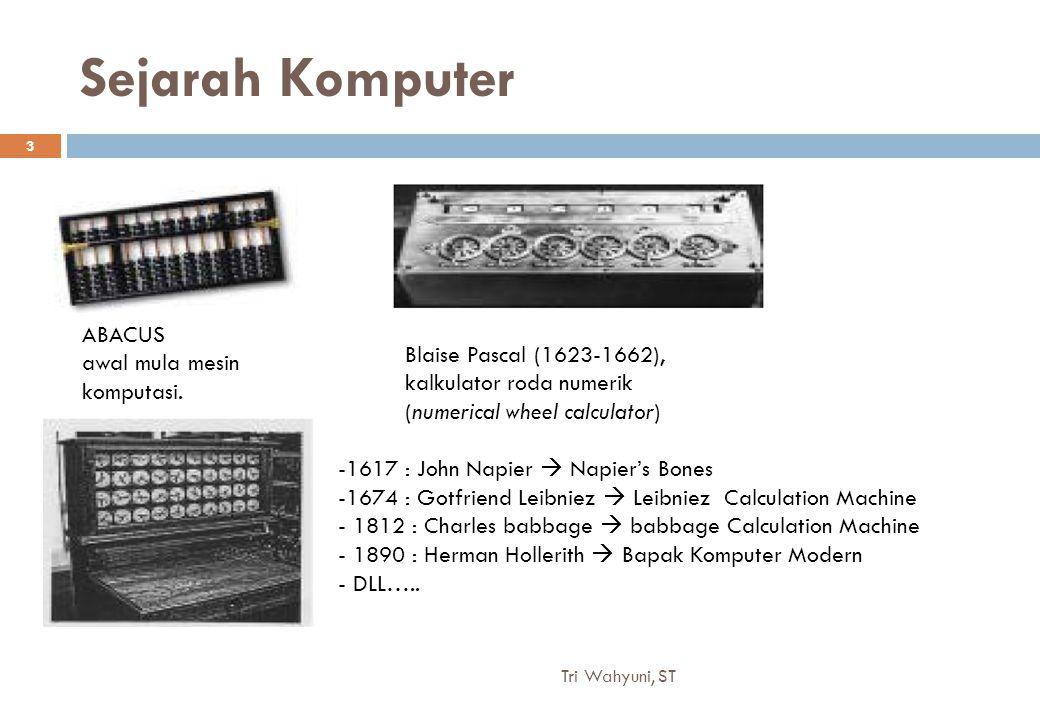 Sejarah Komputer ABACUS awal mula mesin komputasi. Blaise Pascal (1623-1662), kalkulator roda numerik (numerical wheel calculator) -1617 : John Napier
