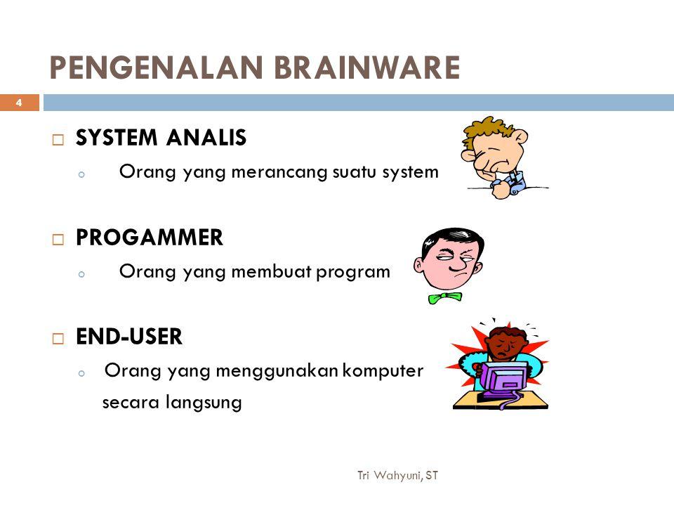 Tri Wahyuni, ST 4 PENGENALAN BRAINWARE  SYSTEM ANALIS o Orang yang merancang suatu system  PROGAMMER o Orang yang membuat program  END-USER o Orang