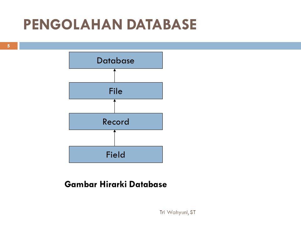 Tri Wahyuni, ST 5 PENGOLAHAN DATABASE Database File Record Field Gambar Hirarki Database
