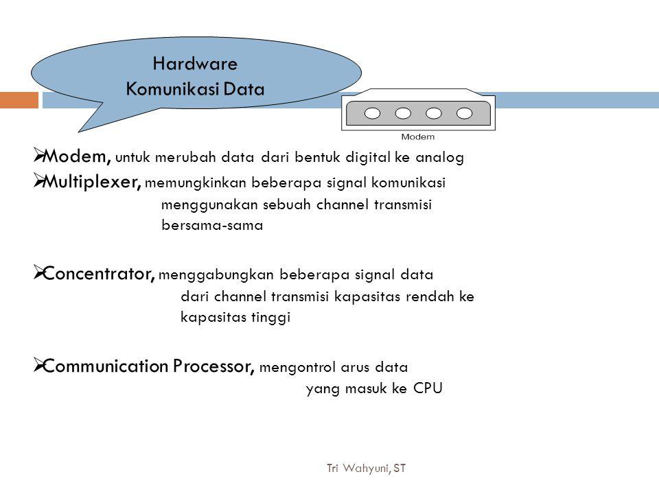 Tri Wahyuni, ST8 Hardware Komunikasi Data  Modem, untuk merubah data dari bentuk digital ke analog  Multiplexer, memungkinkan beberapa signal komuni
