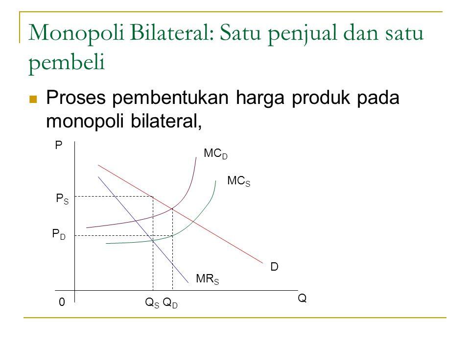 Monopoli Bilateral: Satu penjual dan satu pembeli Proses pembentukan harga produk pada monopoli bilateral, P PSPS PDPD 0Q S Q D Q MR S D MC D MC S