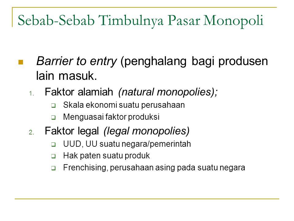 Sebab-Sebab Timbulnya Pasar Monopoli Barrier to entry (penghalang bagi produsen lain masuk. 1. Faktor alamiah (natural monopolies);  Skala ekonomi su