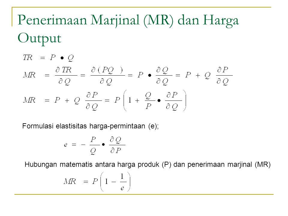 Penerimaan Marjinal (MR) dan Harga Output Formulasi elastisitas harga-permintaan (e); Hubungan matematis antara harga produk (P) dan penerimaan marjin