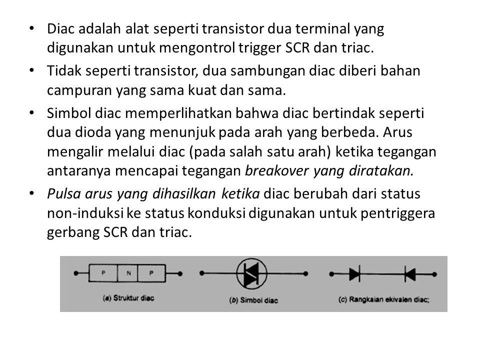 Diac adalah alat seperti transistor dua terminal yang digunakan untuk mengontrol trigger SCR dan triac. Tidak seperti transistor, dua sambungan diac d