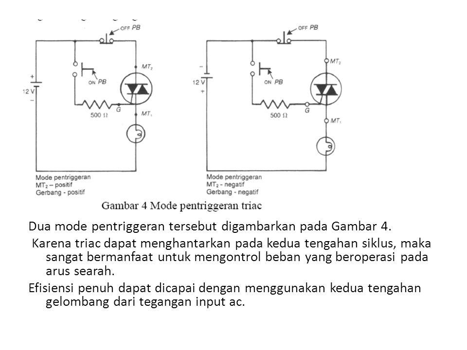 Dua mode pentriggeran tersebut digambarkan pada Gambar 4. Karena triac dapat menghantarkan pada kedua tengahan siklus, maka sangat bermanfaat untuk me