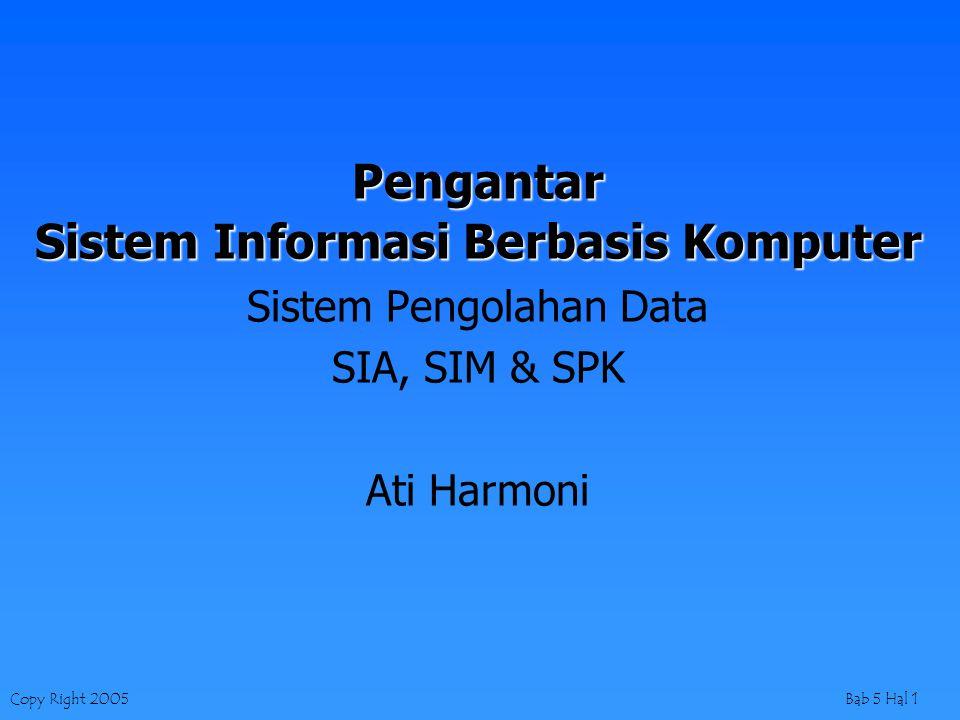 Copy Right 2005Bab 5 Hal 1 Pengantar Sistem Informasi Berbasis Komputer Sistem Pengolahan Data SIA, SIM & SPK Ati Harmoni