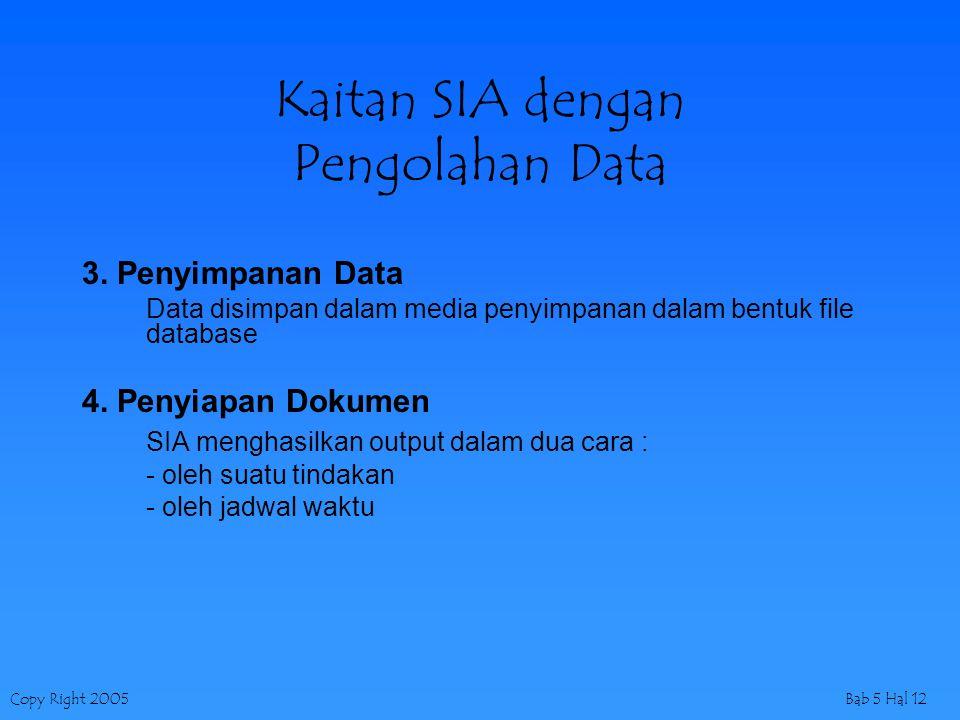 Copy Right 2005Bab 5 Hal 12 Kaitan SIA dengan Pengolahan Data 3. Penyimpanan Data Data disimpan dalam media penyimpanan dalam bentuk file database 4.
