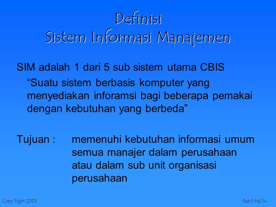 """Copy Right 2005Bab 5 Hal 14 Definisi Sistem Informasi Manajemen SIM adalah 1 dari 5 sub sistem utama CBIS """"Suatu sistem berbasis komputer yang menyedi"""