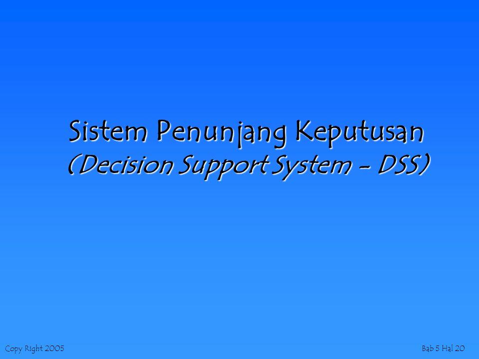 Copy Right 2005Bab 5 Hal 20 Sistem Penunjang Keputusan (Decision Support System - DSS)