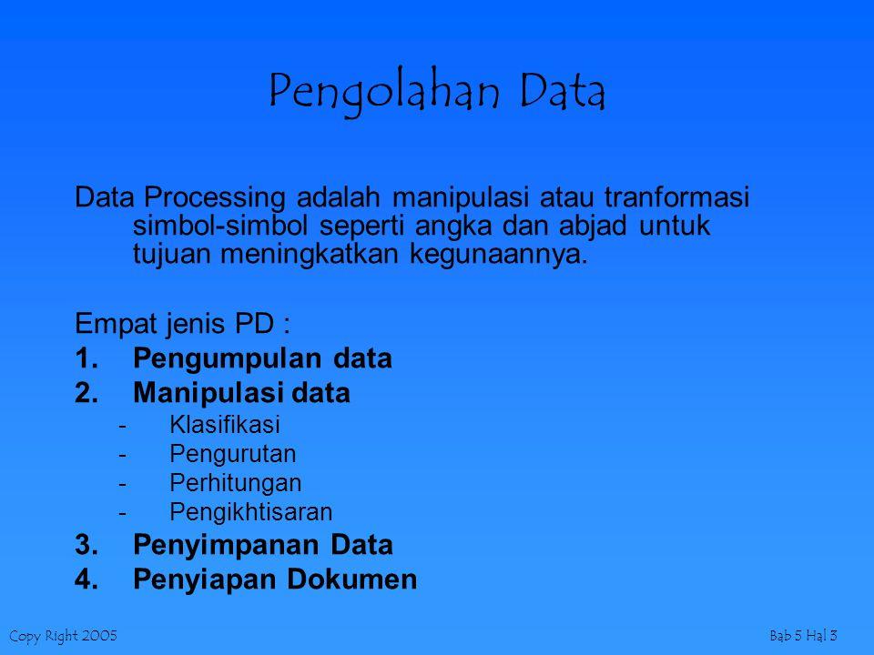 Copy Right 2005Bab 5 Hal 3 Pengolahan Data Data Processing adalah manipulasi atau tranformasi simbol-simbol seperti angka dan abjad untuk tujuan menin