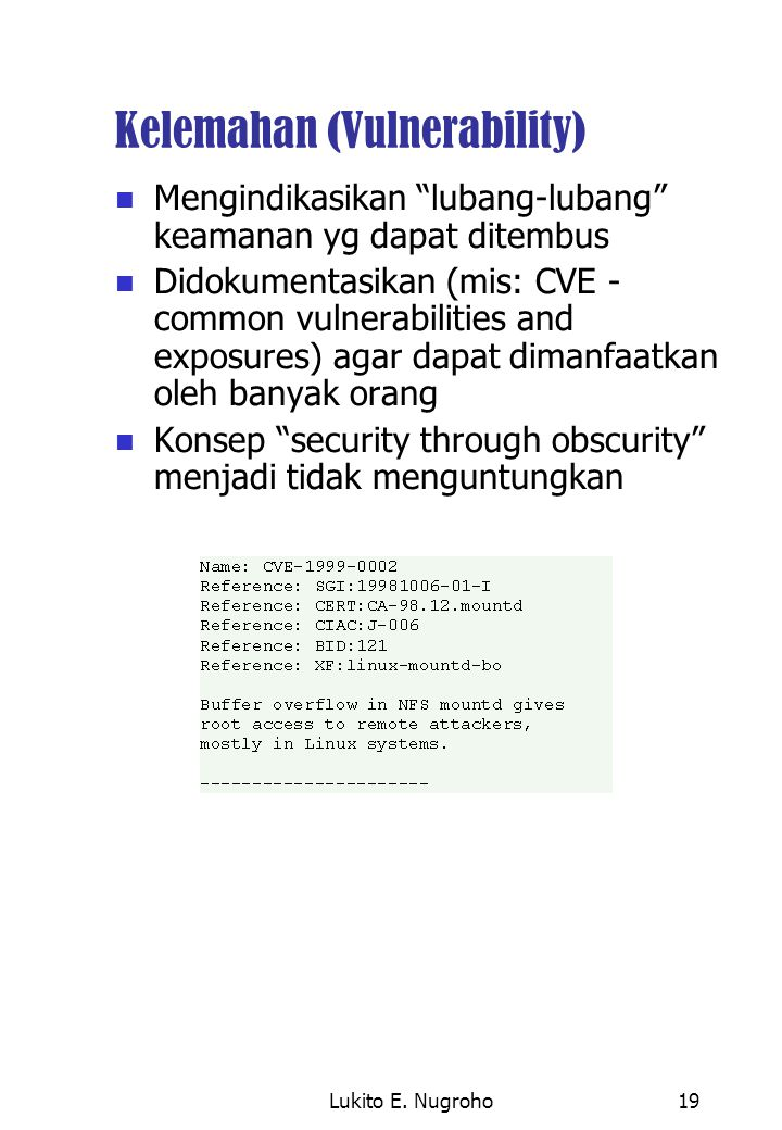"Lukito E. Nugroho19 Kelemahan (Vulnerability) Mengindikasikan ""lubang-lubang"" keamanan yg dapat ditembus Didokumentasikan (mis: CVE - common vulnerabi"