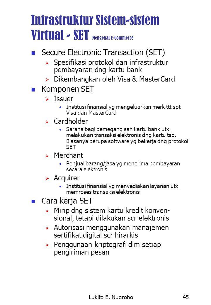 Lukito E. Nugroho45 Infrastruktur Sistem-sistem Virtual - SET Mengenal E-Commerce Secure Electronic Transaction (SET)  Spesifikasi protokol dan infra