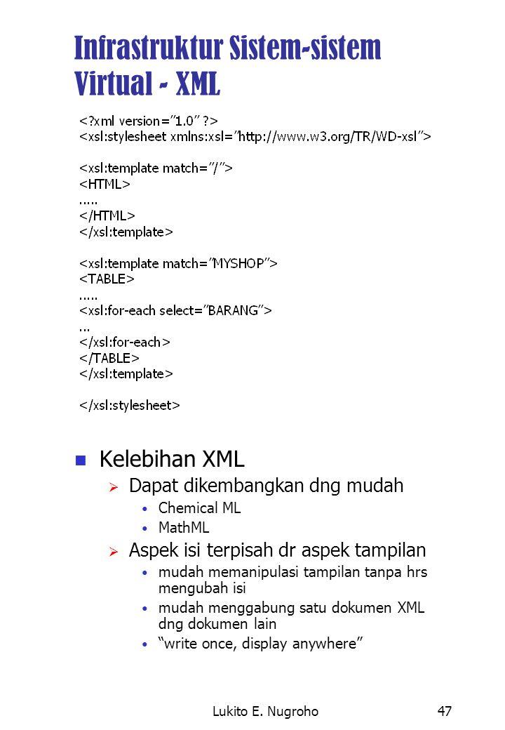 Lukito E. Nugroho47 Infrastruktur Sistem-sistem Virtual - XML Kelebihan XML  Dapat dikembangkan dng mudah Chemical ML MathML  Aspek isi terpisah dr