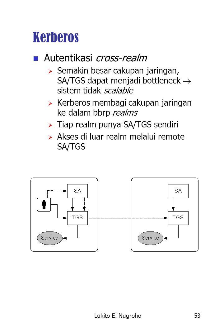 Lukito E. Nugroho53 Kerberos Autentikasi cross-realm  Semakin besar cakupan jaringan, SA/TGS dapat menjadi bottleneck  sistem tidak scalable  Kerbe