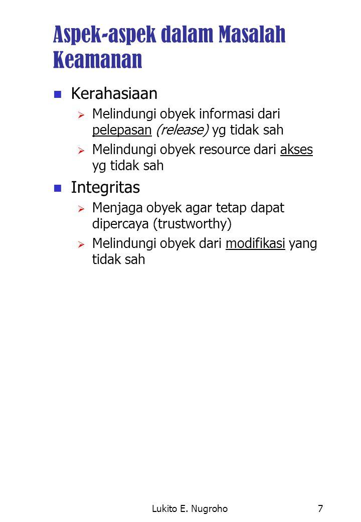 Lukito E. Nugroho7 Aspek-aspek dalam Masalah Keamanan Kerahasiaan  Melindungi obyek informasi dari pelepasan (release) yg tidak sah  Melindungi obye