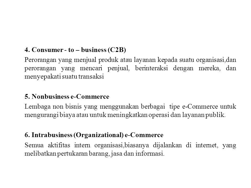 4. Consumer - to – business (C2B) Perorangan yang menjual produk atau layanan kepada suatu organisasi,dan perorangan yang mencari penjual, berinteraks