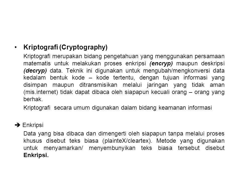 Kriptografi (Cryptography) Kriptografi merupakan bidang pengetahuan yang menggunakan persamaan matematis untuk melakukan proses enkripsi (encryp) maupun deskripsi (decryp) data.