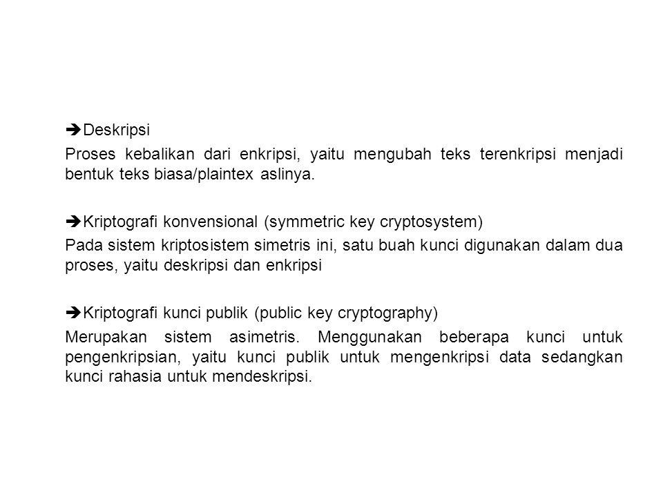  Deskripsi Proses kebalikan dari enkripsi, yaitu mengubah teks terenkripsi menjadi bentuk teks biasa/plaintex aslinya.  Kriptografi konvensional (sy