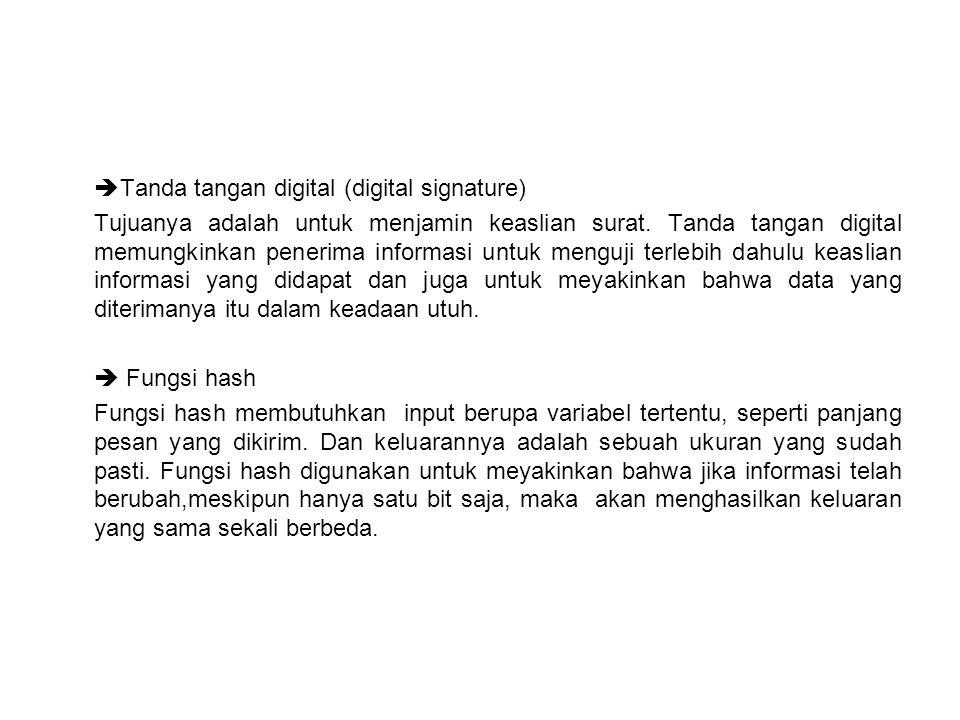  Tanda tangan digital (digital signature) Tujuanya adalah untuk menjamin keaslian surat. Tanda tangan digital memungkinkan penerima informasi untuk m